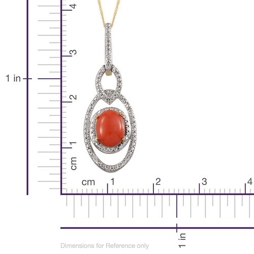 Mediterranean Coral (Ovl 1.25 Ct), White Topaz Pendant With Chain in 14K Gold Overlay Sterling Silver 1.500 Ct.
