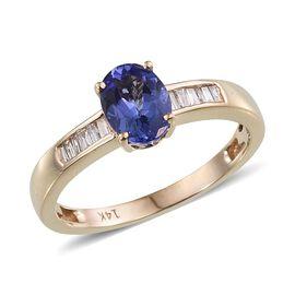 14K Y Gold Tanzanite (Ovl 1.05 Ct), Diamond Ring 1.250 Ct.