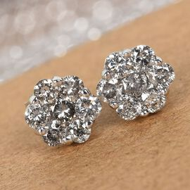 9K White Gold SGL Certified Pressure Set Diamond (I3/G-H) Stud Earrings (with Push Back) 1.00 Ct.