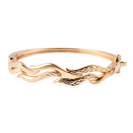 Lucy Q Flame Collection Diamond Cut Bangle in Gold Plated Sterling Silver 6.75 Inch