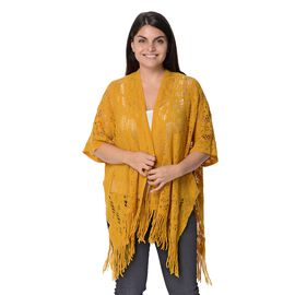 Knit Hollow Snowflake Pattern Kimono with Tassels (Size 85x65+14 Cm) - Yellow