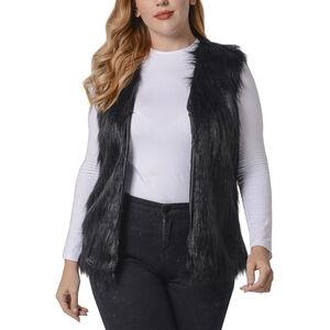 'Black Colour Faux Fur Gilet (one Size Fits All; 50x70 Cm)