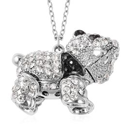 Black and White Austrian Crystal Panda Necklace in Silver Plated 28 with 2 inch Extender