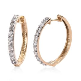 Limited Edition- 9K Yellow Gold SGL Certified Diamond (I3-G to H) Hoop Earrings  1.000  Ct.