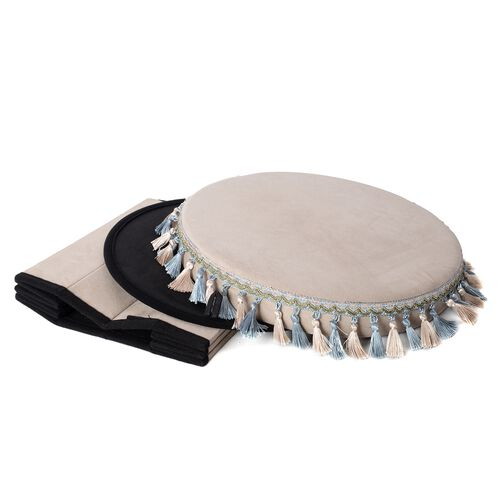 Beige Colour with Light Blue and Beige Tassels Foldable Storage box with Fringe Round (Size 43x40 Cm)