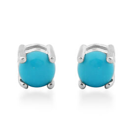 Mega Deal-Arizona Sleeping Beauty Turquoise Stud Earrings (with Push Back) in Sterling Silver