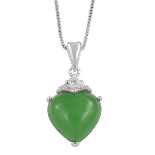 Green Jade (Hrt), White Topaz Pendant with Chain in Rhodium and Platinum Overlay Sterling Silver 6.850 Ct.