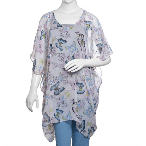 Off White and Multi Colour Flower and Butterfly Pattern Top (Size 85x65 Cm)