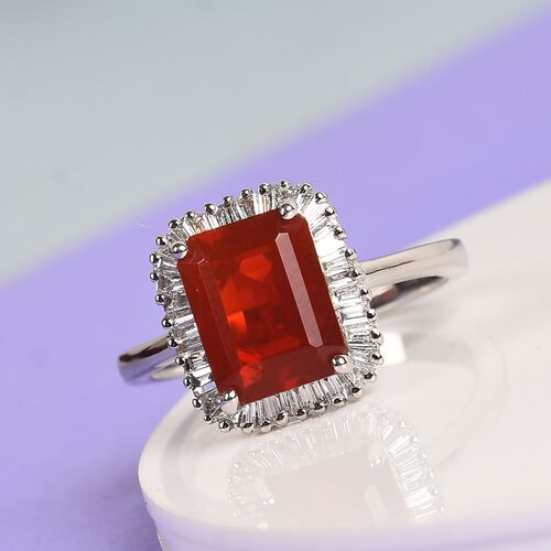 RHAPSODY 950 Platinum AAAA Jalisco Fire Opal and Diamond (VS/E-F) Ring 2.00 Ct, Platinum wt 5.08 Gms