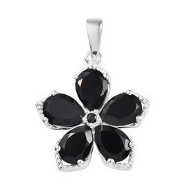 4.50 Ct Boi Ploi Black Spinel Floral Pendant in Sterling Silver