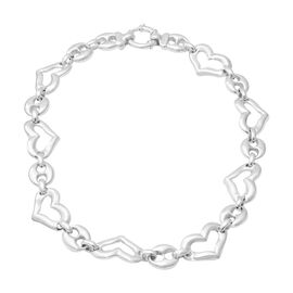Designer Inspired- Rhodium Overlay Sterling Silver Heart Link Necklace (Size 20), Silver wt 60.47 Gm