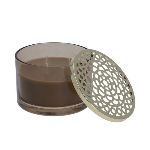 Luxurious Decorative Citronella Aromatic Candle in Glass Container (Size 15x11 Cm) - Grey - Burn Tim