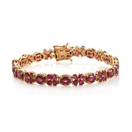 GP African Ruby (Ovl and Pear), Kanchanaburi Blue Sapphire Bracelet (Size 7.5) in 14K Gold Overlay Sterling Silver 21.920 Ct, Silver wt 16.68 Gms