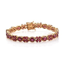 GP 21.92 Ct African Ruby and Kanchanaburi Blue Sapphire Tennis Bracelet in Gold Plated Sterling Silv