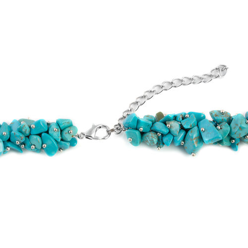 One Time Deal-Blue Howlite Necklace (Size 20 and 2.5 inch Extender) in Silver Plated 430.000 Ct.