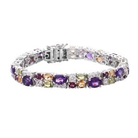 GP Amethyst (Ovl 7x5 mm), Citrine and Multi Gemstone Bracelet (Size 6.75) (with Clasp Lock) in Plati