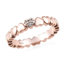 Natural Cambodian Zircon (Rnd) Heart Ring in Rose Gold Overlay Sterling Silver