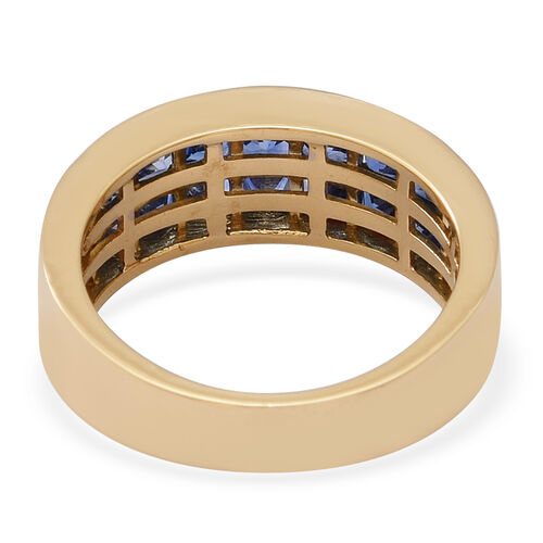 ILIANA 18K Yellow Gold AAAA Royal Ceylon Sapphire Two Row Half Eternity Ring 2.03 Ct, Gold wt. 4.05 Gms