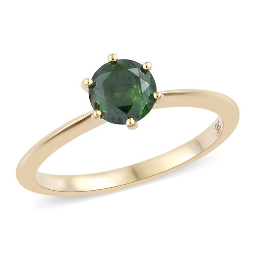 0.6 Ct Green Diamond Solitaire Ring in 9K Gold 1.75 Grams SGL Certified