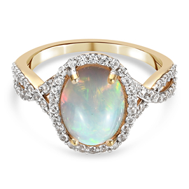 Natural Cambodian Zircon and Ethiopian Welo Opal   Ring Sterling Silver 2.922  Ct.