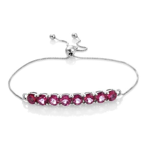 Mystic Pink Coated Topaz (Rnd) Adjustable Bracelet (Size 7.5) in Platinum Overlay Sterling Silver 5.000 Ct.