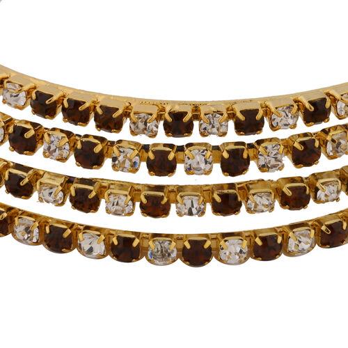4 Piece Set - Dark Brown Austrian Crystal Bangle (Size 8) in Gold Tone