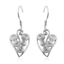 Platinum Overlay Sterling Silver Hook Earrings, Silver wt 3.95 Gms