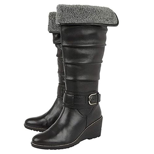 Lotus Black Leather Dandy Knee High Boots (Size 4)