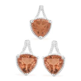 One Time Deal- 2 Piece Set Padparadscha Quartz (Tri 7 mm) Stud Earrings (with Push Back) and Pendant