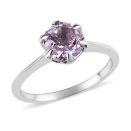 Rose De France Amethyst (Rnd 7 mm) Solitaire Ring in Platinum Overlay Sterling Silver 1.05 Ct.