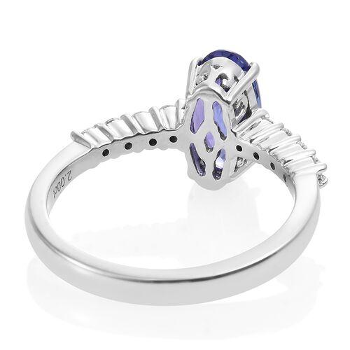 ILIANA 18K White Gold AAA Tanzanite (Ovl 2.00 Ct), Diamond (SI/G-H) Ring 2.260 Ct.