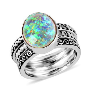 Sajen Silver Cultural Flair Collection - Set of 3 Quartz Doublet Simulated Opal White Ring in Rhodiu