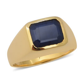 Kanchanaburi Blue Sapphire (Oct 10x8mm) Solitaire Ring in Yellow Gold Overlay Sterling Silver 3.51 C