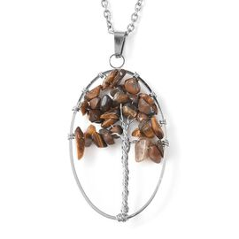 Yellow Tiger Eye Tree of Life Pendant with Chain (Size 24) in Stainless Steel 22.50 Ct.