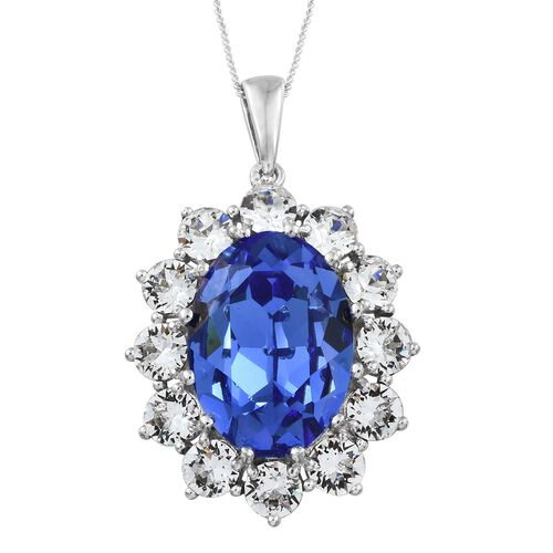 J Francis Crystal from Swarovski - Sapphire Colour Crystal (Ovl 18x13 mm), White Crystal (Rnd 4.5 mm) Pendant with Chain (Size 30) in Platinum Overlay Sterling Silver, Silver wt. 9.50 Gms.