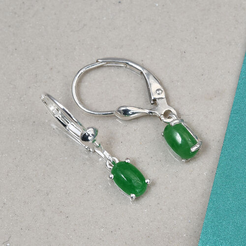 One Time Deal- Green Jade Solitaire Lever Back Earrings in Sterling Silver