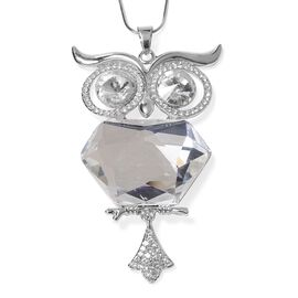 Simulated Diamond and White Austrian Crystal Owl Pendant With Chain (Size 29 with 2 Inch Extender) i