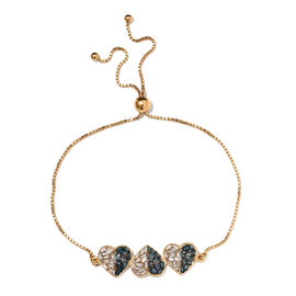 Blue and White Diamond (Bgt) Heart Bracelet (Size 6.5 - 9 Adjustable) in 14K Gold and Platinum Overl
