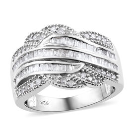0.50 Carat Diamond Cluster Ring in Platinum Plated Sterling Silver 4.6 Grams