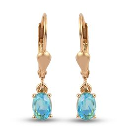 Peacock Triplet Quartz Solitaire Lever Back Earrings in 14K Gold Overlay Sterling Silver 1.25 Ct.