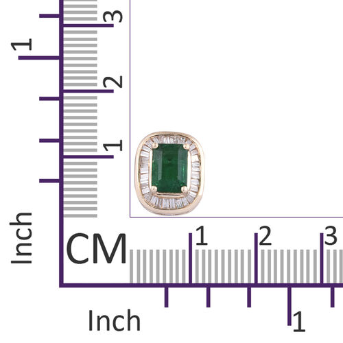 9K Yellow Gold AA Kagem Zambian Emerald (Oct 7x5 mm), Diamond Pendant 1.150 Ct.