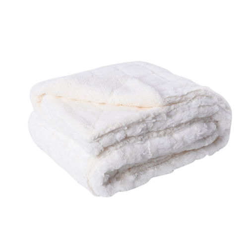 Serenity Night Jacquard Faux Fur Sherpa Blanket (150x200cm) - White
