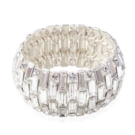 White Austrian Crystal (Rnd), Simulated Diamond Stretchable Dome Bracelet (Size 7) in Silver Tone