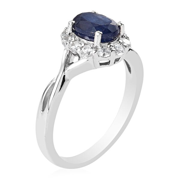 Masoala Sapphire and Natural Cambodian Zircon Ring in Platinum Overlay Sterling Silver 2.15 Ct.