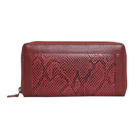 Assots London Animal Print Leather Purse (Size 21x12x2cm) - Red