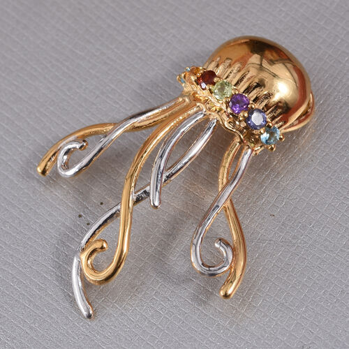 Multi Gemstone Octopus Pendant in Platinum and Yellow Gold Overlay Sterling Silver 0.320 Ct.