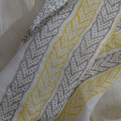 Yellow and Grey Colour Handblock Printed White Colour Scarf (Size 180x70 Cm)