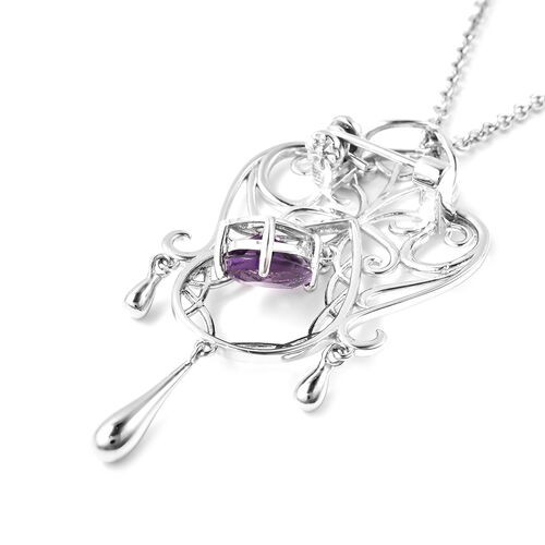 LucyQ Victorian Era Lace Collection - Amethyst Brooch or Pendant With Chain (Size 20) in Rhodium Overlay Sterling Silver, Silver wt. 10.69 Gms