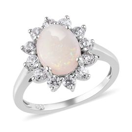 AA Opal and Cambodian Zircon Ring in Platinum Overlay Sterling Silver 1.75 Ct.