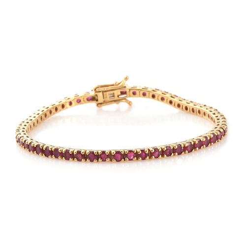 African Ruby (Rnd) Tennis Bracelet (Size 7.5) in 14K Gold Overlay Sterling  Silver 8.000 Ct, Silver wt 9.46 Gms